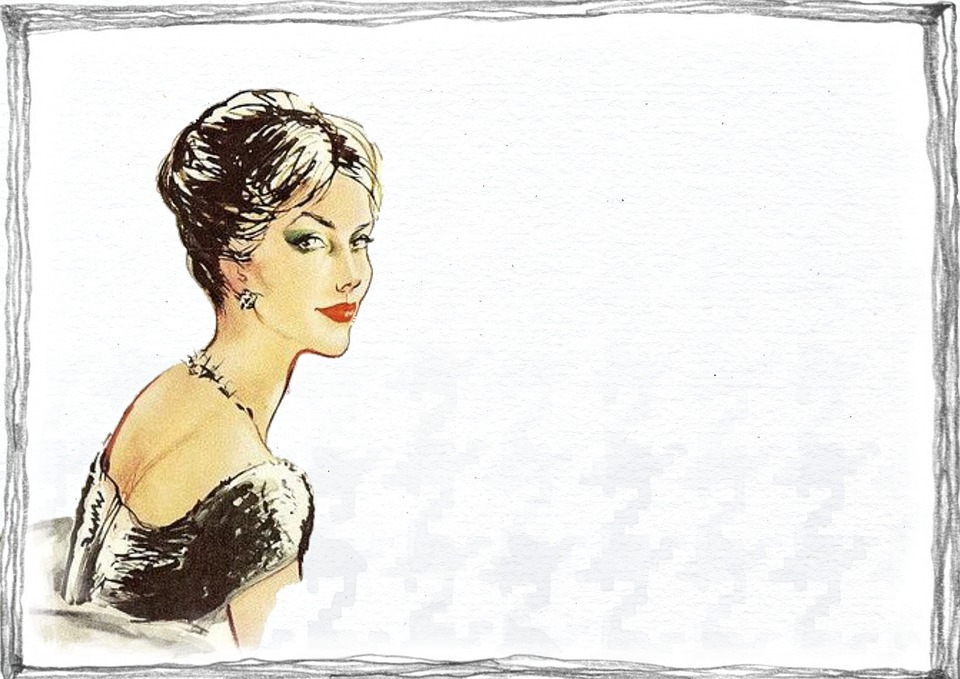 Black And Pink Wallpaper Free Illustration Vintage Lady Fashion Drawing Free