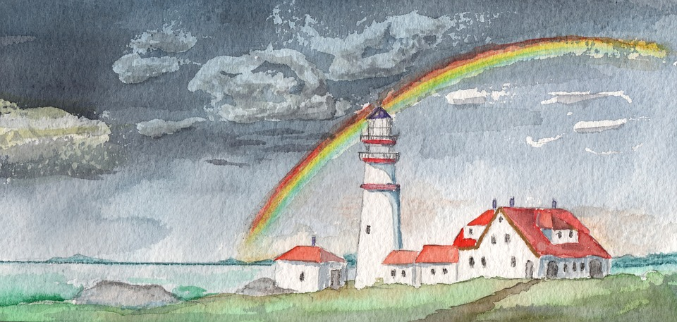 Car Wallpaper Download 2018 Watercolour Lighthouse Rainbow 183 Free Image On Pixabay