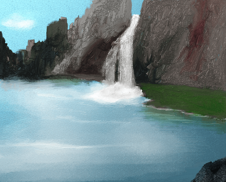 Falls Wallpaper Download Kostenlose Illustration Wasserfall See Gemalt Bild