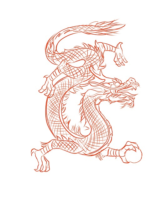 Pochoirs Orientaux Free Illustration: Dragon, Design, Chinese, Eastern - Free