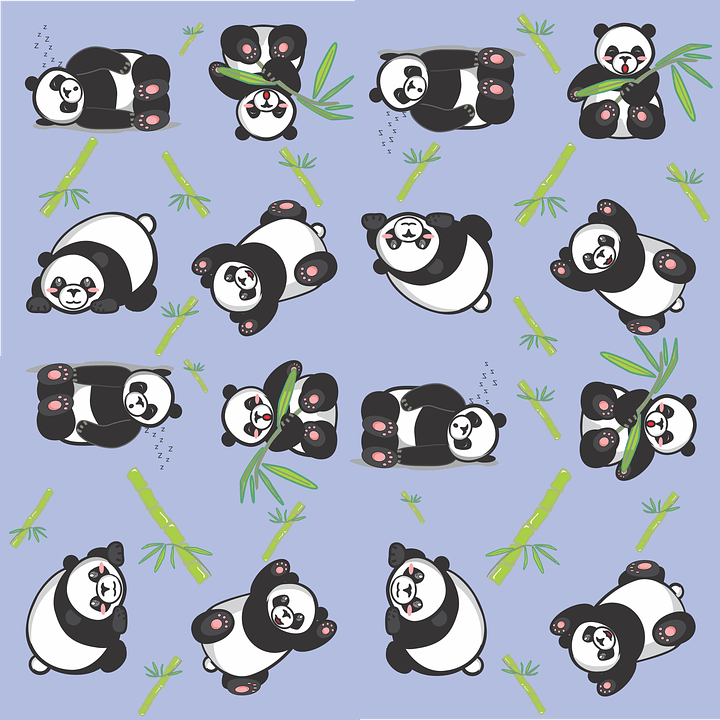 Black And Purple Wallpaper Free Illustration Panda Tile Cute Pattern Blue Free