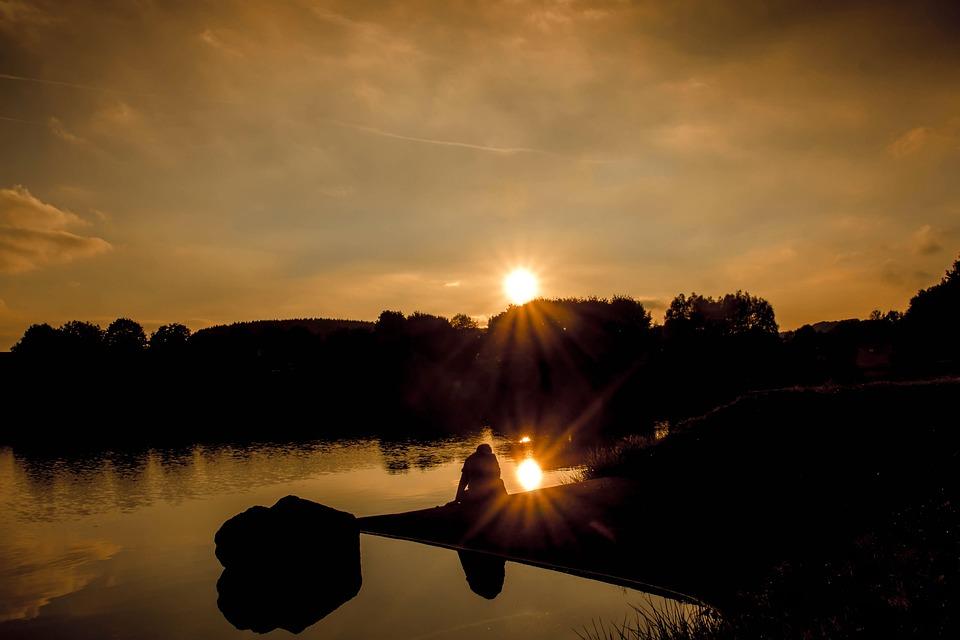 Orange Color Wallpaper Hd Free Photo Sunset Sun Rays Sunbeam Lake Free Image