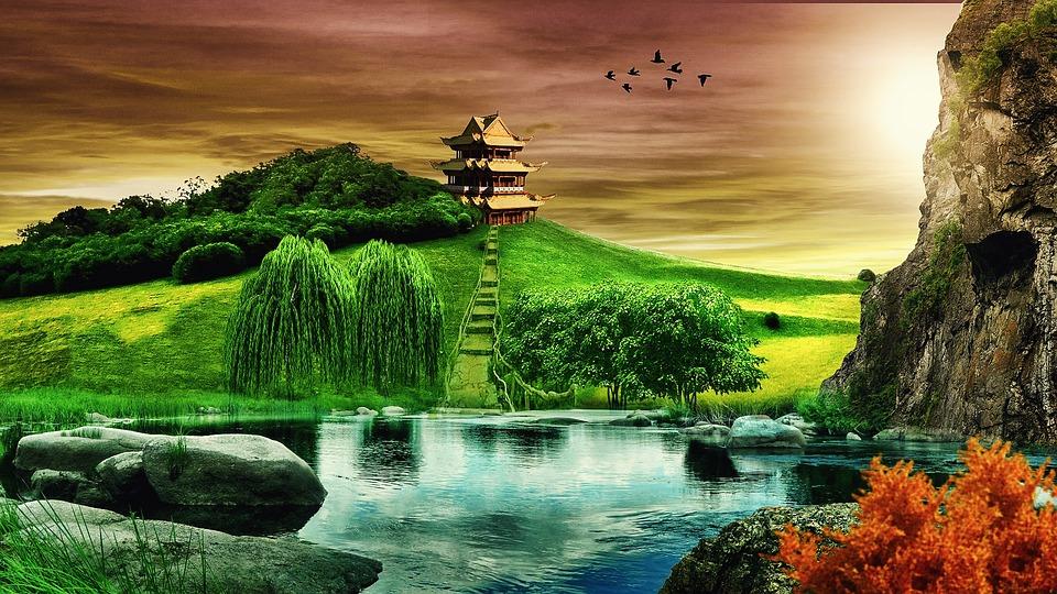 Fall Desktop Fantasy Wallpaper Background Landscape Temple 183 Free Photo On Pixabay