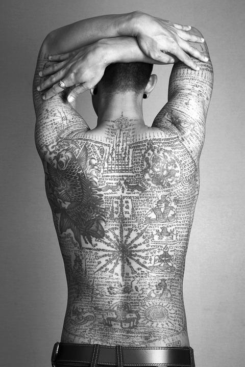 Girl Back View Wallpaper Free Photo Man Tattoo Thai Traditional Free Image On
