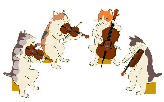 Full Moon Clip Art Black And White Quartet Cat Violin · Free Image On Pixabay