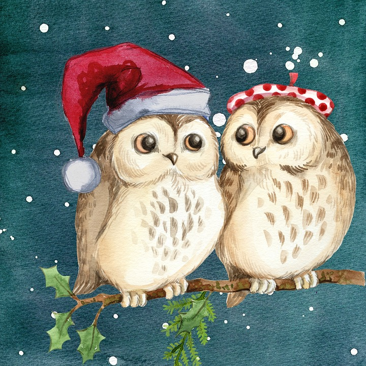 Frohe Weihnachten Comic Free Illustration: Merry Christmas, Owls, Watercolor