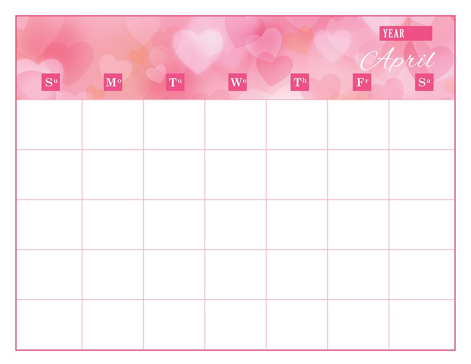 Calendar Template April - Free image on Pixabay - calendar template