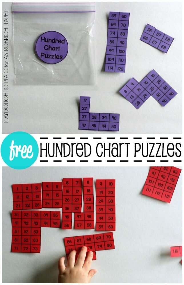 Hundred Chart Puzzles #Colorize - Playdough To Plato