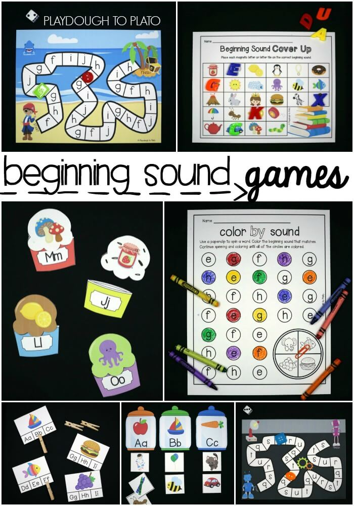 Printable Initial Sound Games beginning sounds board games