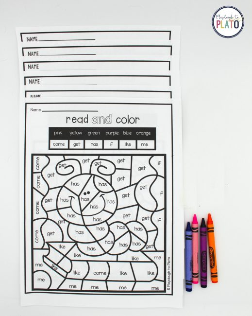 Color by Sight Word - Playdough To Plato