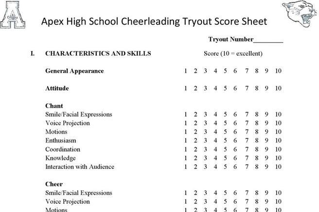 Sample Cheer Leading Tryout Score Sheet  NodeCvresume