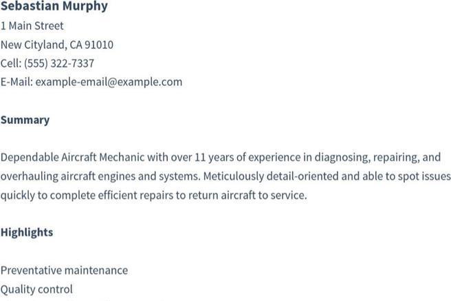 sample aircraft mechanic resumes