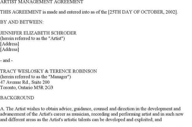 Artist Management Contract Template Sample Artist Contract Template - performance contract template
