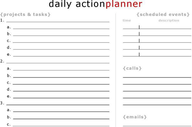 Daily Action Planner Templates Download Free  Premium Templates