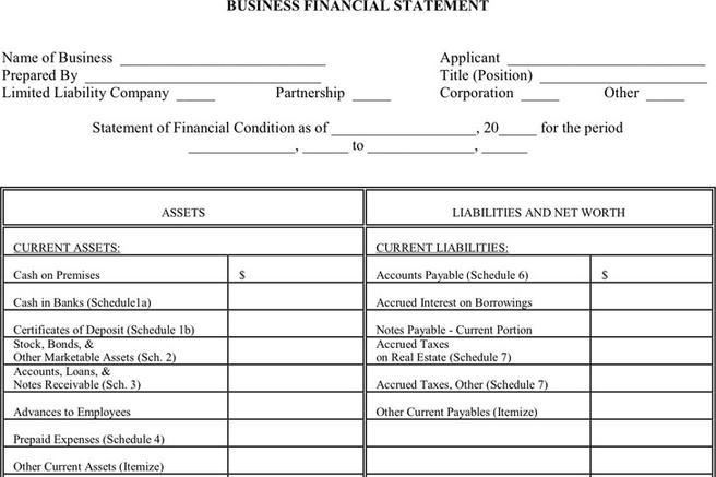 Financial Statement Form Download Free  Premium Templates, Forms - free financial statement template