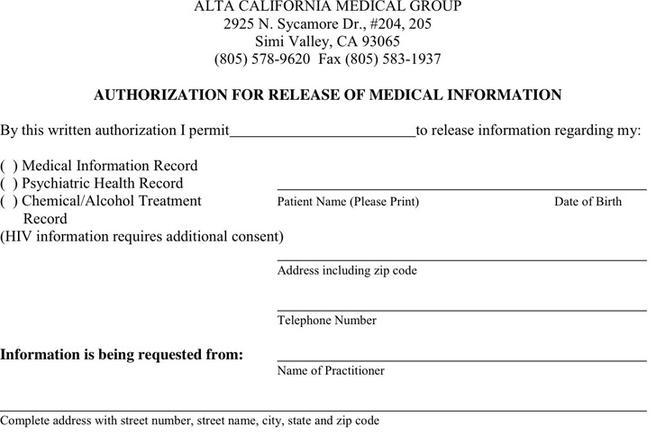 Release Of Medical Information Form - Resume Template Sample
