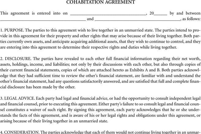 Legal Form Sample Cohabitation Agreement  Resume Maker Create