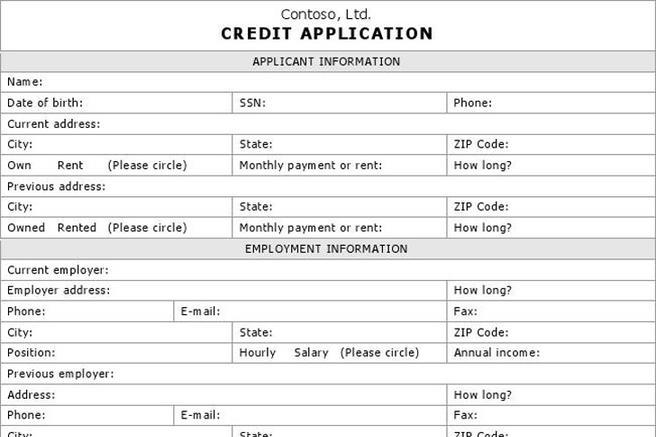 Credit Application Form Download Free  Premium Templates, Forms - credit application form
