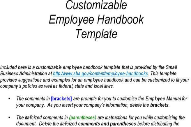 company handbooks template