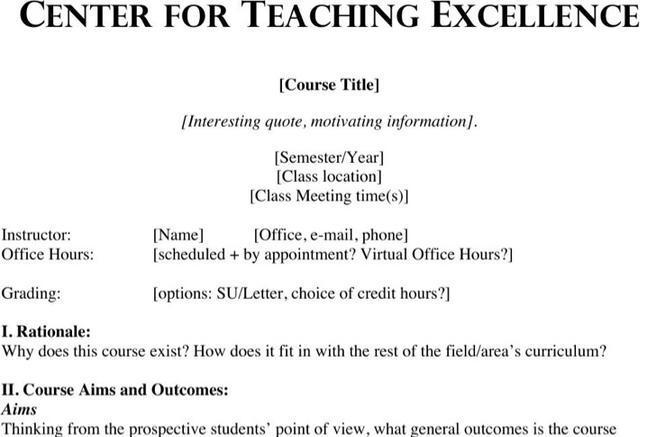 Course Syllabus Template - Costumepartyrun - syllabus template word