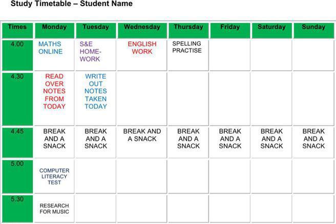 Homework Schedule Template Download Free  Premium Templates