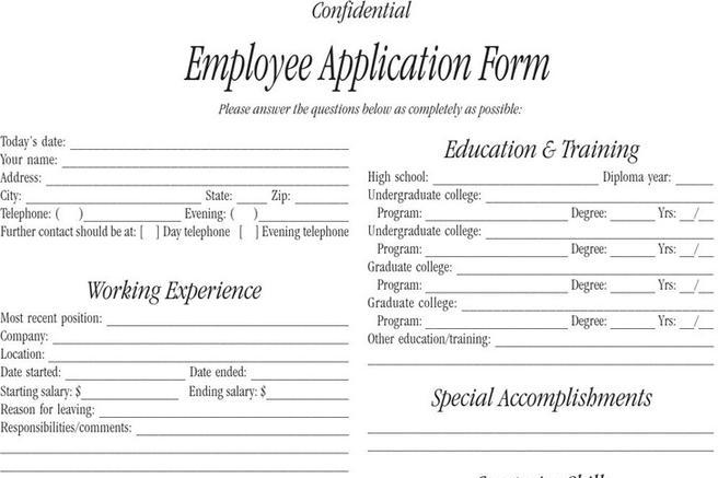 Employee Form Employee Application Form Employee Forms Template - employee application forms