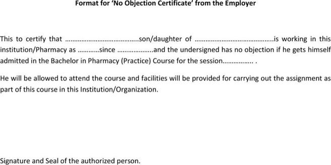 no objection certificate format from employer hitecauto - no objection format