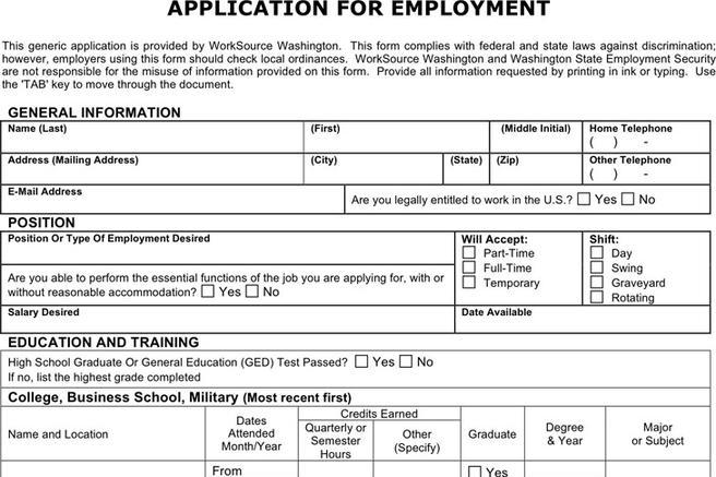 Generic Application for Employment Download Free \ Premium - generic employment application