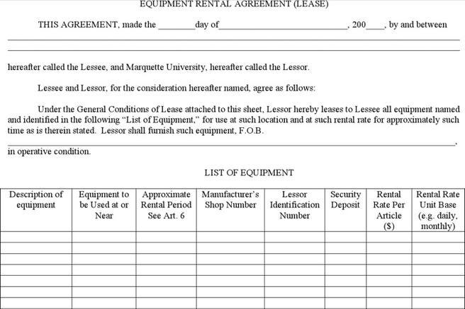Equipment Rental Agreement Equipment Rental Agreement Terms And - equipment rental agreement sample