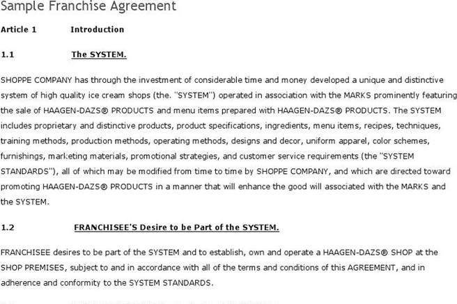 ... Franchise Agreement Sample Download Free \ Premium Templates   Sample  Franchise Agreement ...
