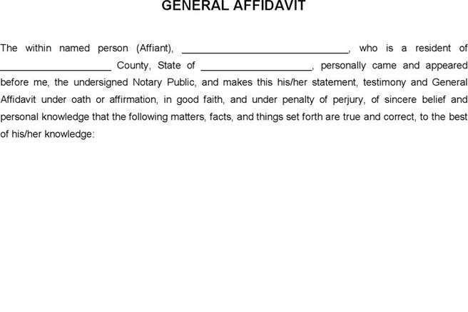 General Affidavit Download Free  Premium Templates, Forms - affidavit statement of facts