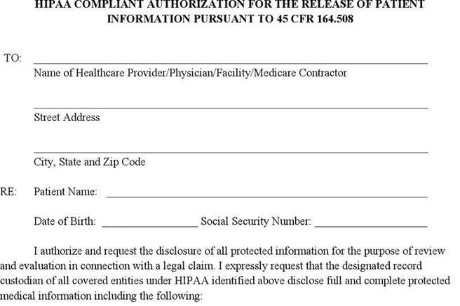Hipaa Release Forms 4; 7 u2022 The Officer Provides A Hipaa Compliant - medical information release form