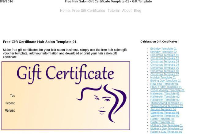 Hair Salon Gift Certificate Template Costumepartyrun
