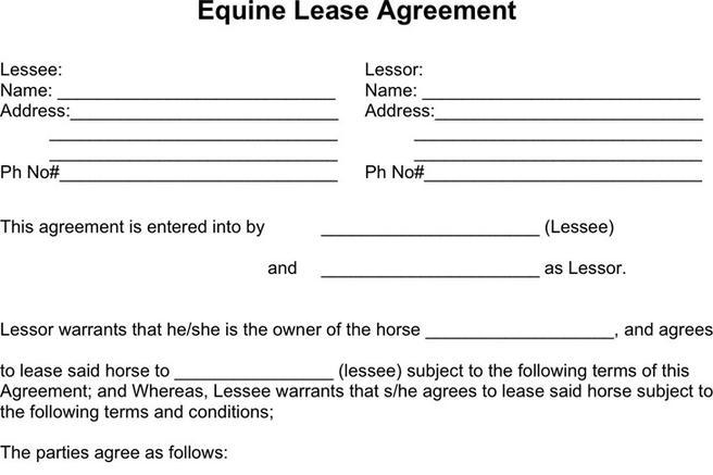 Horse Lease Agreements Printable Sample Free Lease Agreement - lease document template