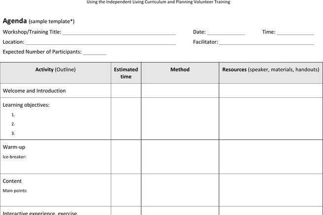 training agenda template hitecauto - training outline template