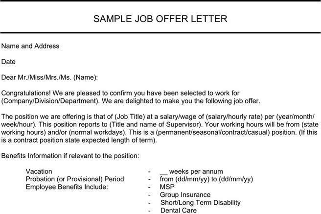 3+ Job Offer Letter Sample Free Download