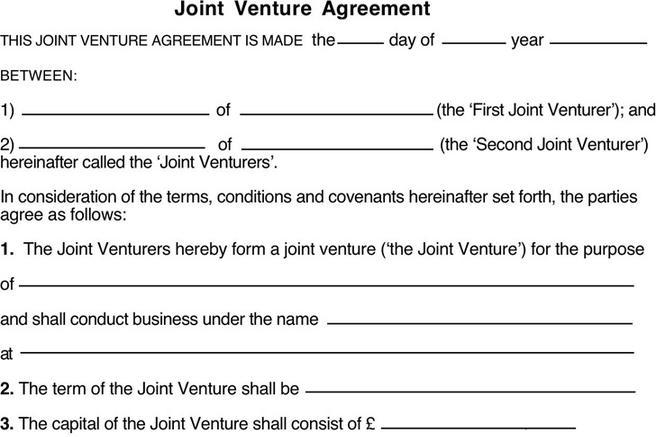 joint venture agreement sample word format – Joint Venture Agreements Sample