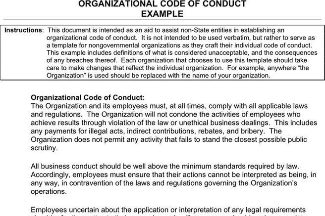 Code of Conduct Example Download Free  Premium Templates, Forms