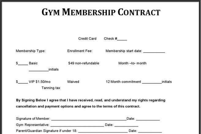 gym contract - Towerssconstruction