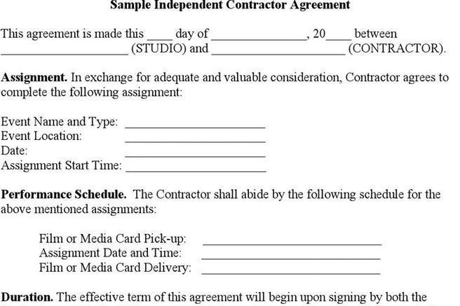 Sample Independent Contractor Agreement Download Free  Premium