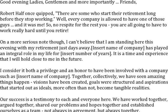 Awesome Retirement Speech Example Photos - Resume Samples - speech examples