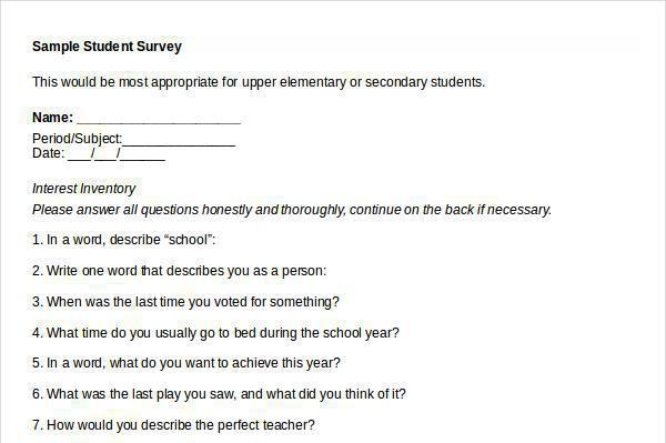 Student Survey Template Download Free  Premium Templates, Forms - sample student survey