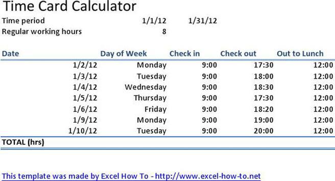 Time Card Calculator Template Free Employee Timecard Template - time card calculator