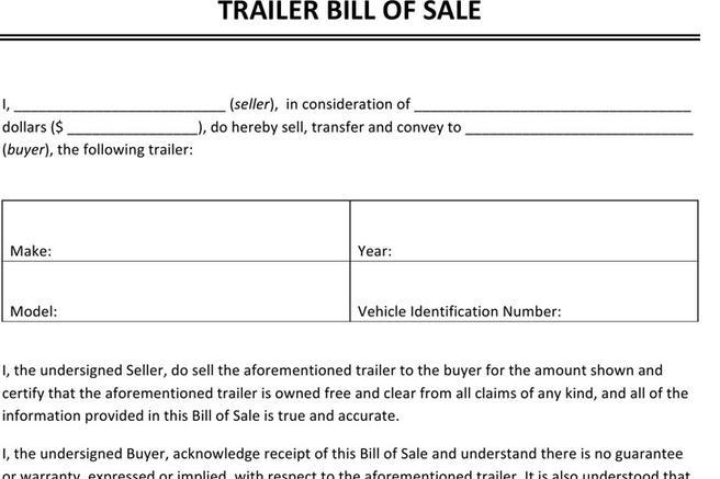 Trailer (ONLY) Bill of Sale Download Free  Premium Templates