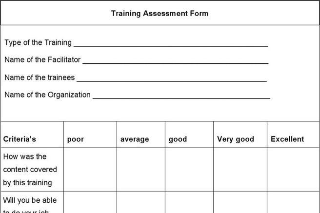 Training Assessment Form Download Free  Premium Templates, Forms