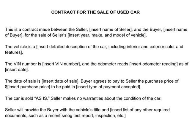 used car sale agreement template