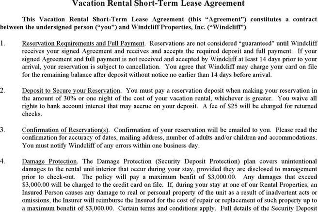 Vacation Rental Agreement Template Ophion