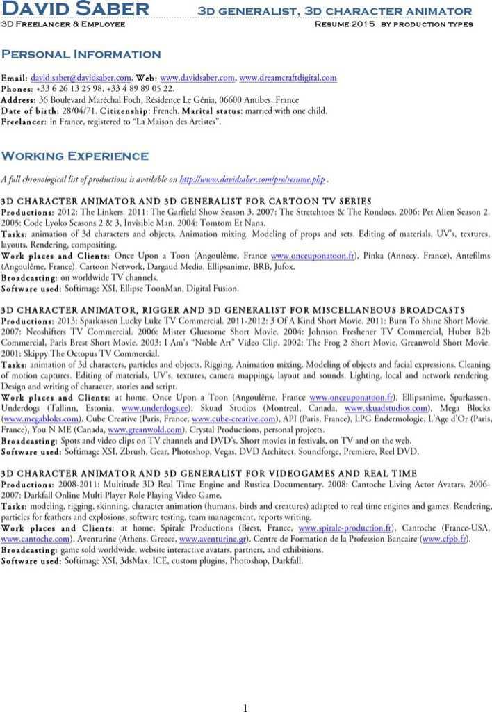 Animator resume template 7 free word pdf documents download - character animator sample resume