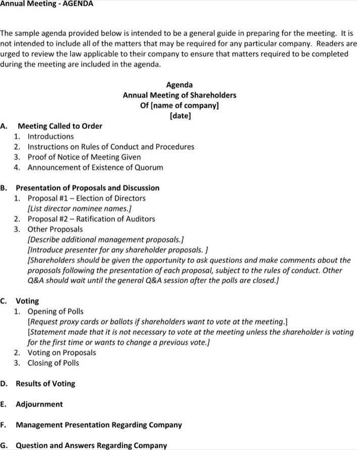 Shareholders Meeting Agenda Template notice of meeting of