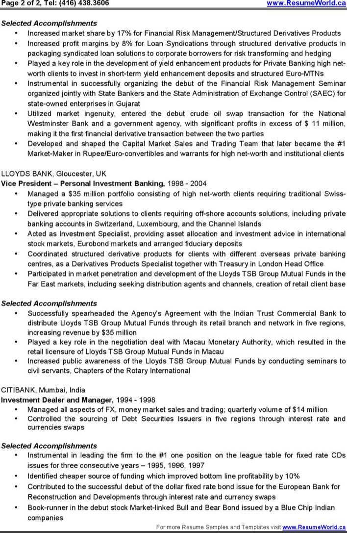 ibankingfaq resume personal interests